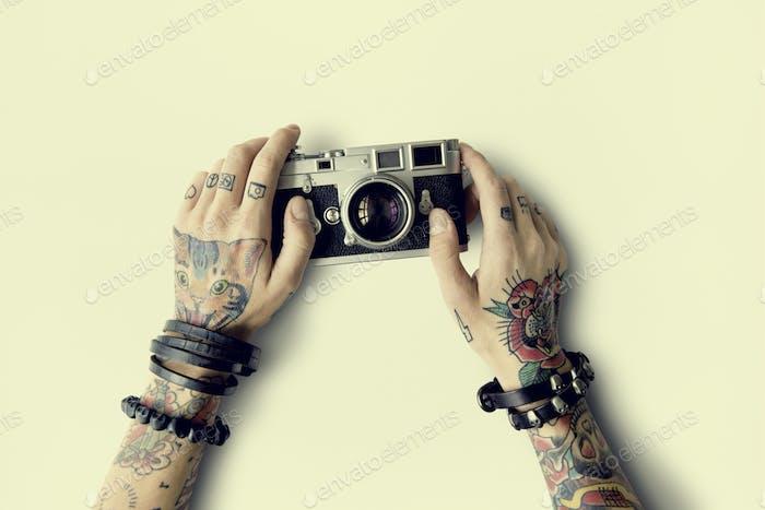 Tattoo Kamera Fotografie Medien Kreatives Filmkonzept
