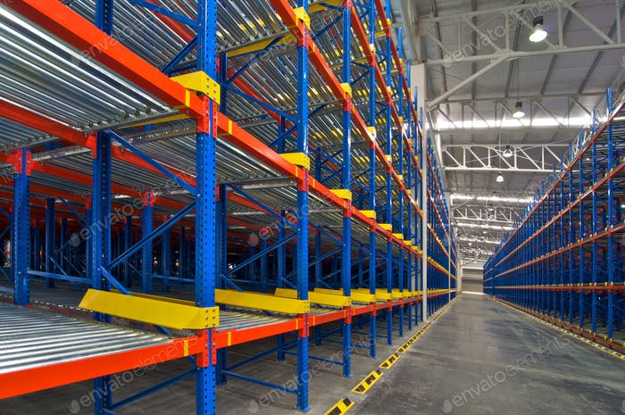 Storage shelf in warehouse distribution center