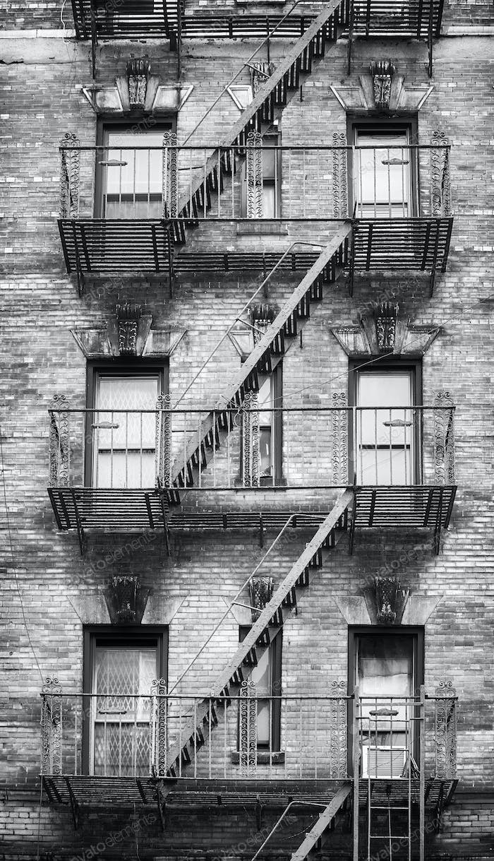 Black and white picture of fire escapes, New York City.