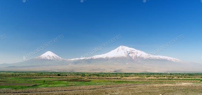 Khor Virap monastery on background of mount Ararat in Armenia, long wide width banner