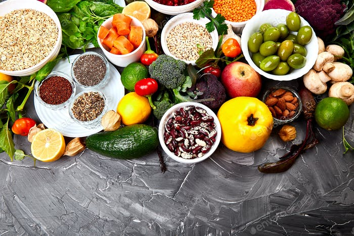Ingredients for the healthy foods selection, concept of healthy food set up