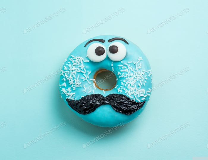 Blue glazed donut with mustache flying