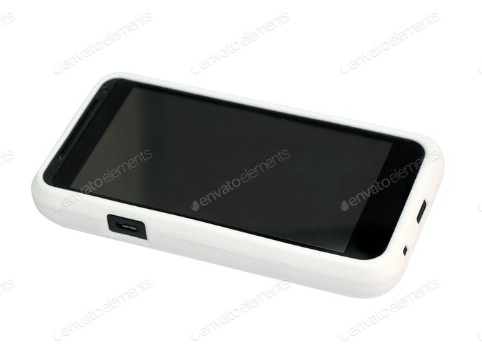Mobile Phone In A White Cover With A Blank Screen. Isolated On A White Background.