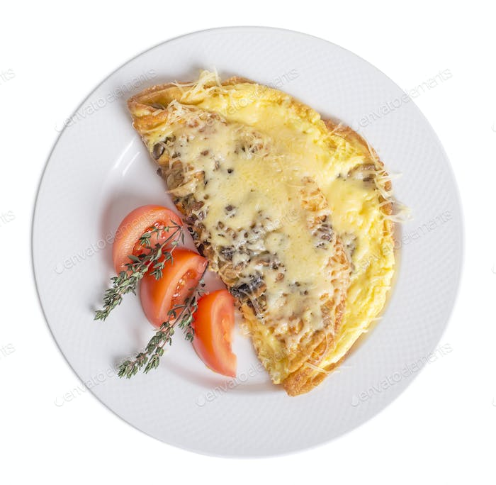 Omelet with cheese and mushrooms.