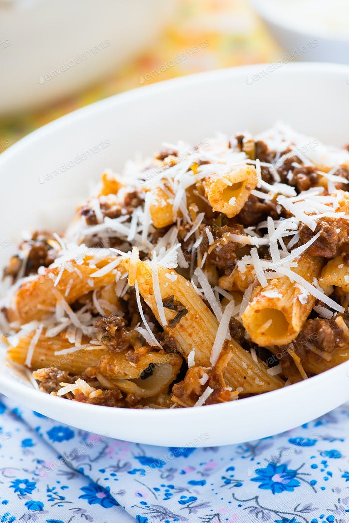 Thumbnail for Baked pasta with meat tomato sauce and cheese