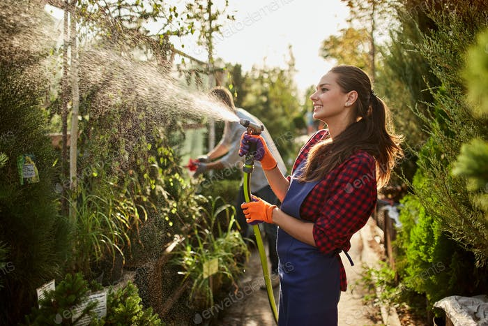 Girl gardener sprays water plants in the beautiful nursery-garden on a sunny day. Working in the