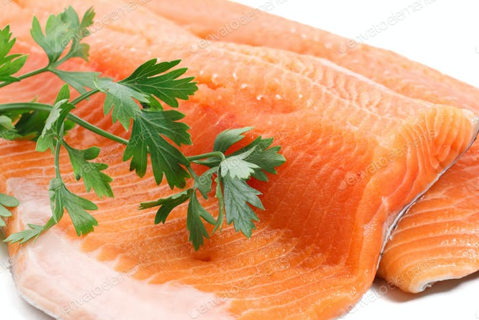 trout fillet with parsley closeup