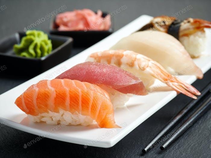 various sushi