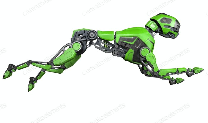 Green Robot dog runs on a white background