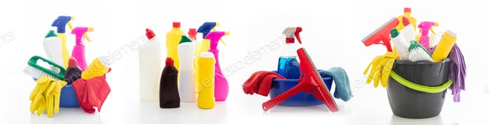Cleaning supplies in a green bowl isolated against white background.