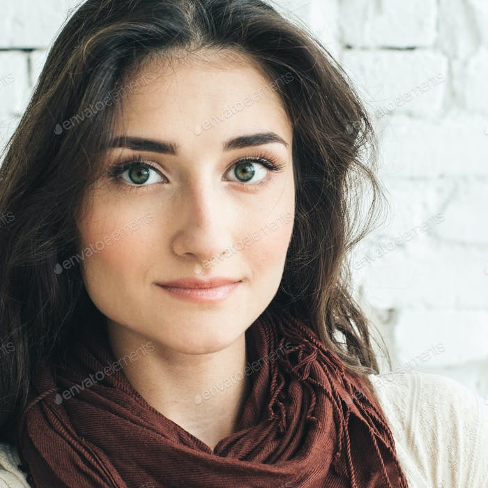 Beautiful Woman Girl Natural Casual Portrait.