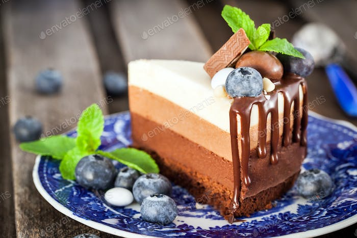 Piece of delicious chocolate mousse cake decorated with fresh bl