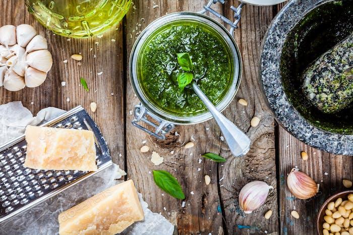 homemade pesto: basil, parmesan, pine nuts, garlic, olive oil