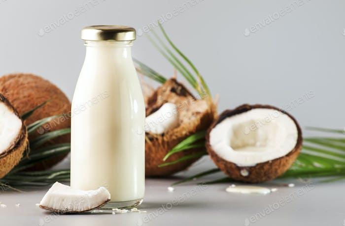 Coconut non dairy vegan milk in bottle