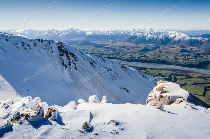 neuseeländische Berge im Winter