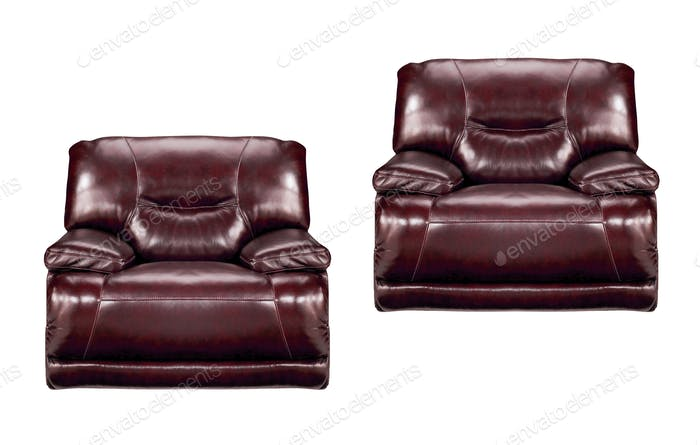 brown leather chairs isolated