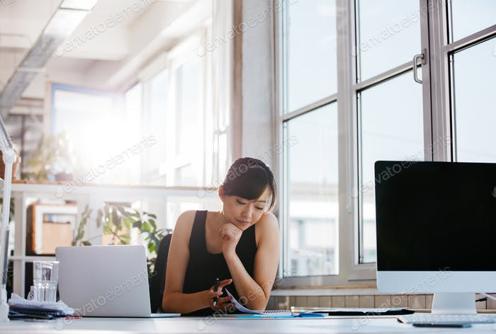 Businesswoman working in modern office