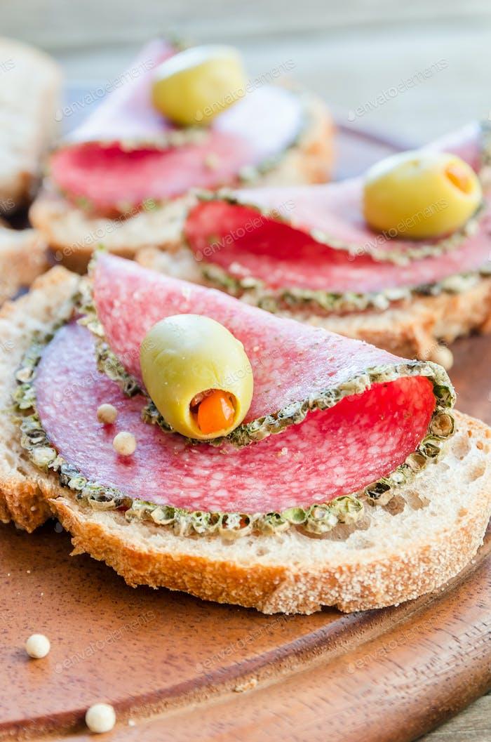 Slices of italian salami