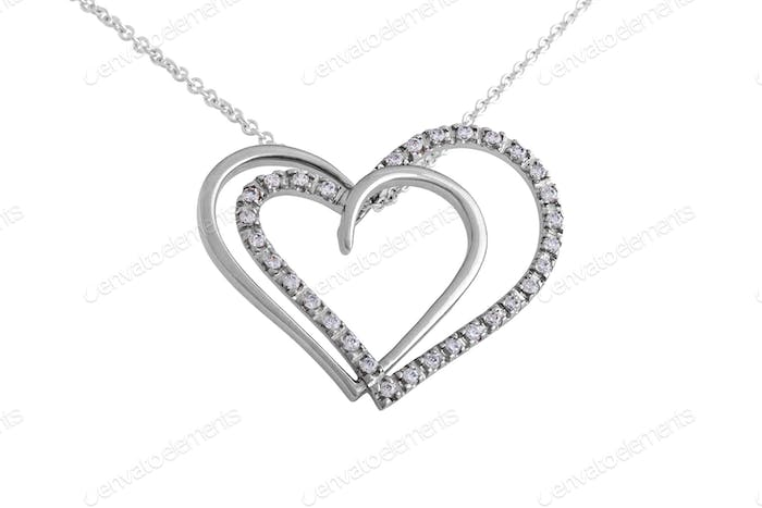 Silver Hearts Pendant with Swarovski Crystal and Necklace