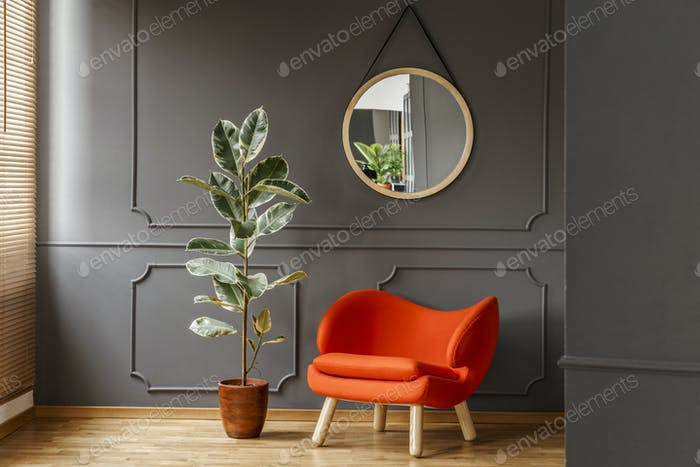 Round mirror hanging on the wall with molding in real photo of d