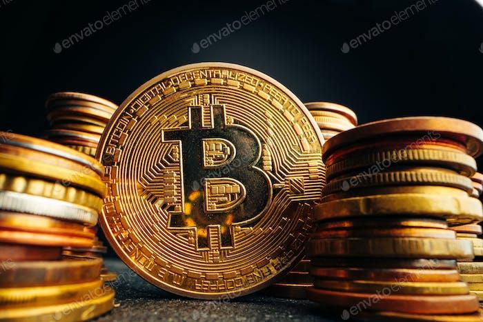 Fotografía de cerca de Bitcoin criptomoneda