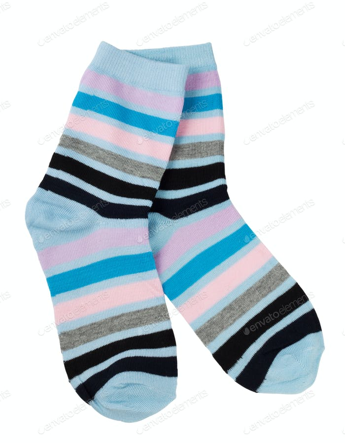 A pair of fashionable striped socks