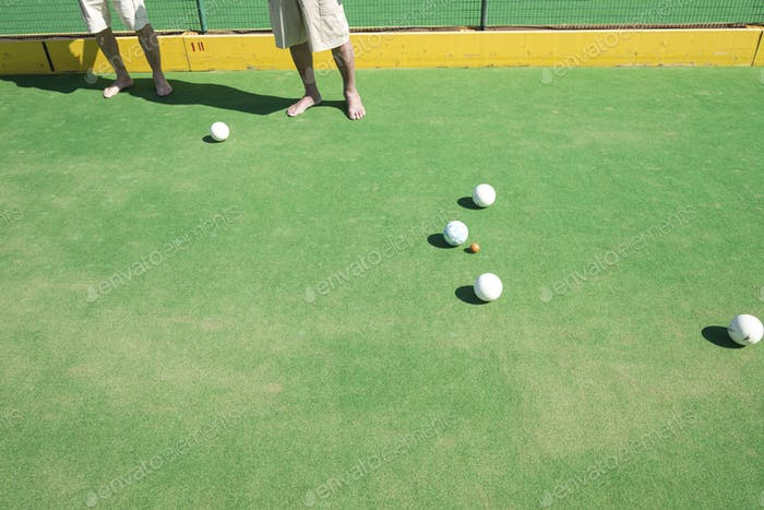 People playing lawn bowls together