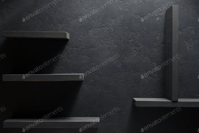 shelf and black wall wood