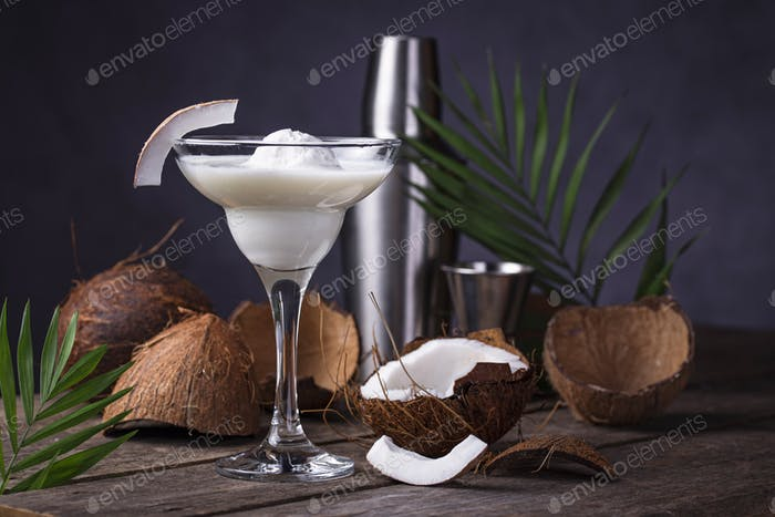 Coconut Margarita cocktail with ice cream