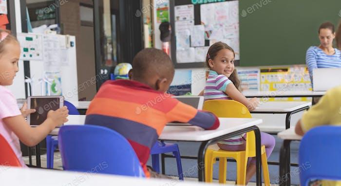 Schoolgirl looking at the camera