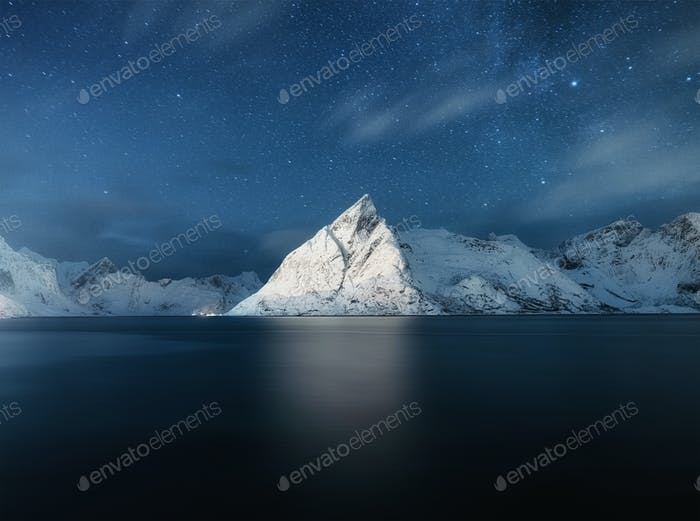Night landscape in the Norway. Long exposure photography