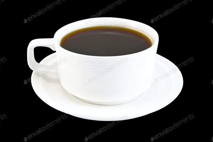 Coffee cup in white on a black background