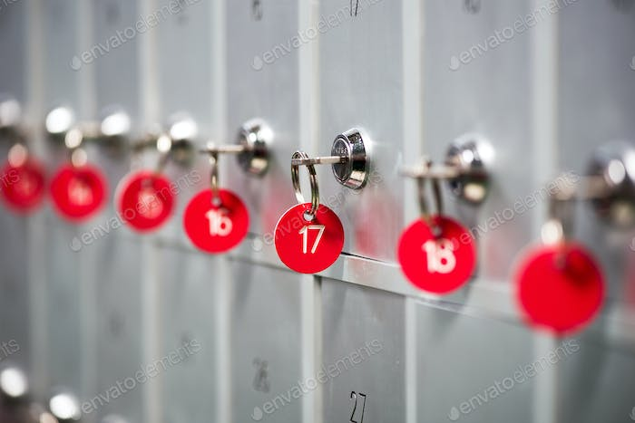Row of metal lockers in a sports changing room