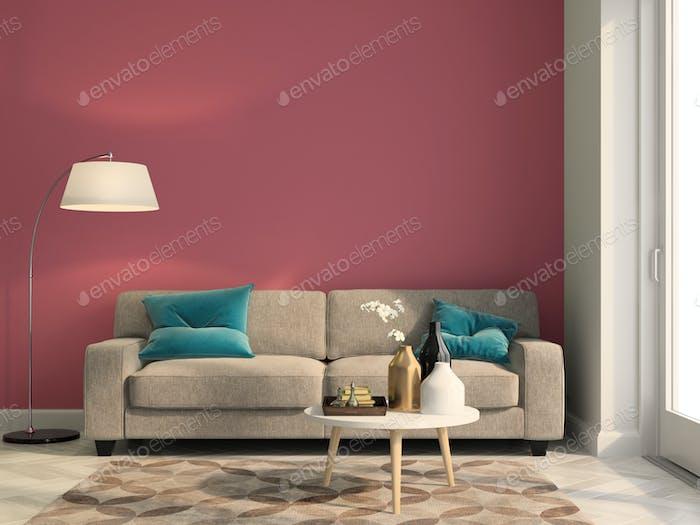 Interior modern design room 3D illustration