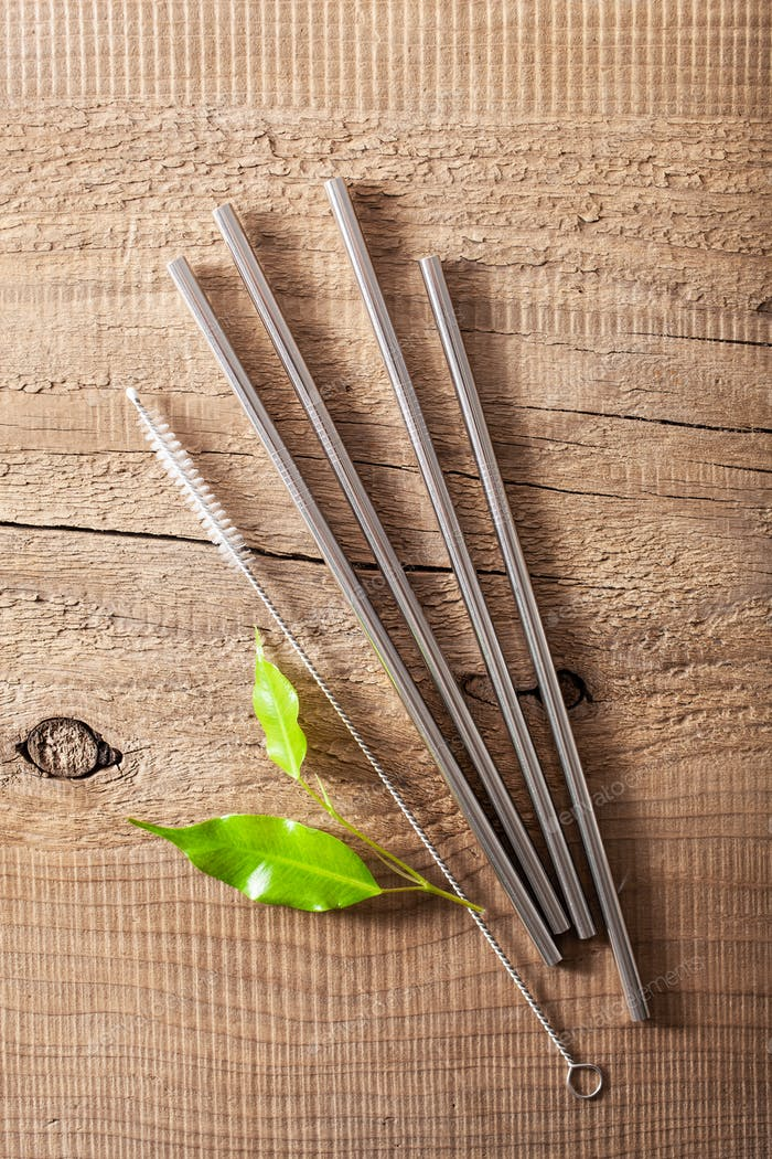 eco-friendly reusable metal drinking straw. zero waste concept
