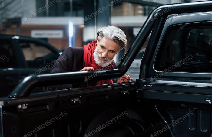 Модный старик с седыми волосами и усами ищет новый автомобиль в помещении в салоне