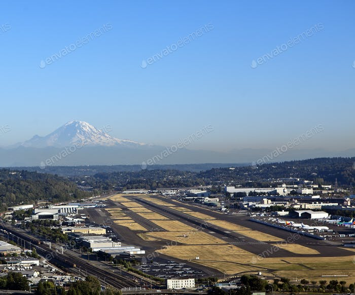 Airport with a Mountain in the Distance