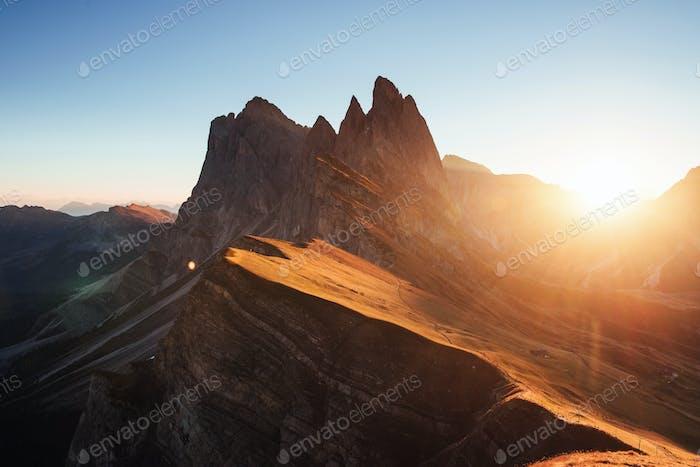 Beautiful sunset in the Italian majestic Seceda dolomite mountains