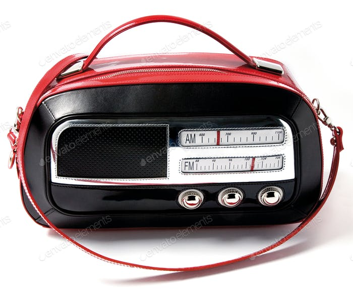 Vintage radio imitation bicolor leather purse
