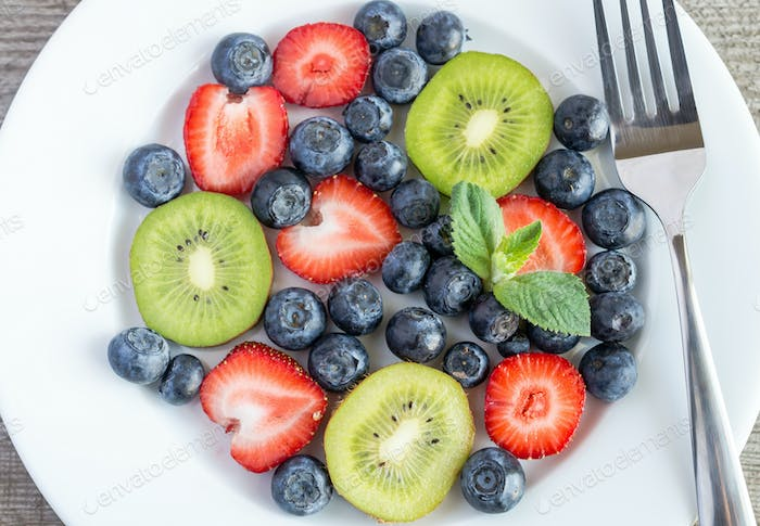 Mixed berries and kiwi fruit