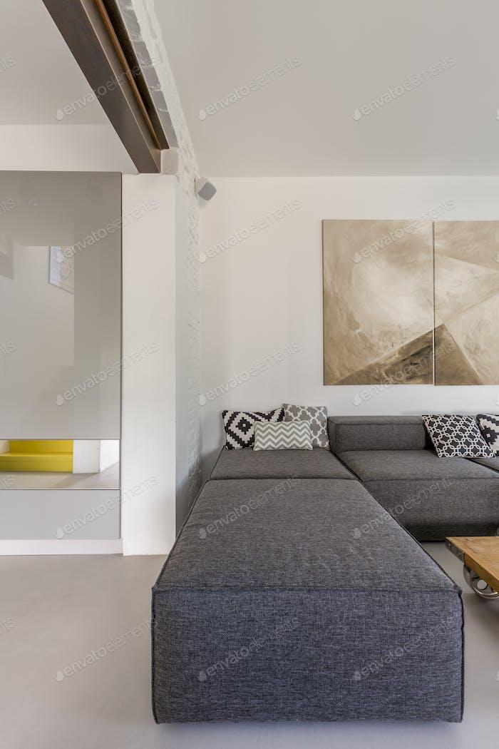 Grey sofa in modern room