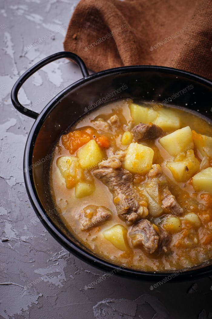 Stewed beef with potatoes, carrot and pumpkin