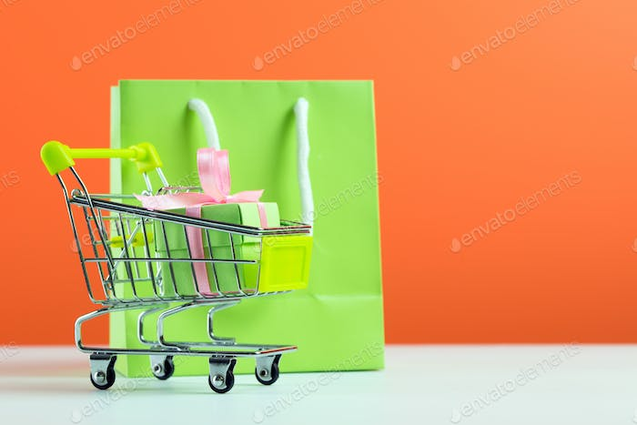 Green gift box in shopping cart and bag