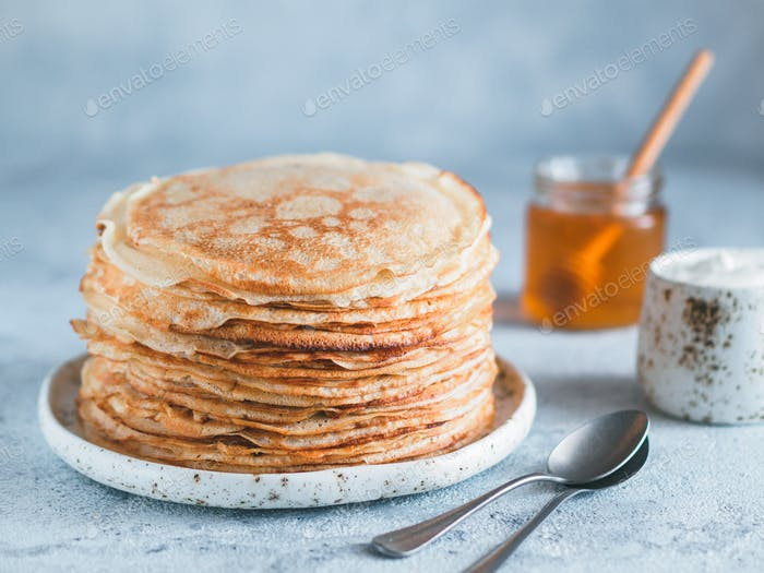 russian pancakes blini with copy space
