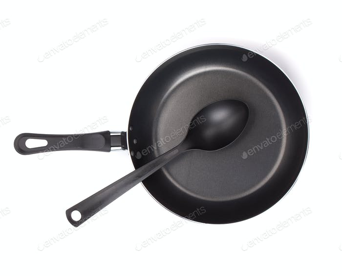Frying pan with utensil