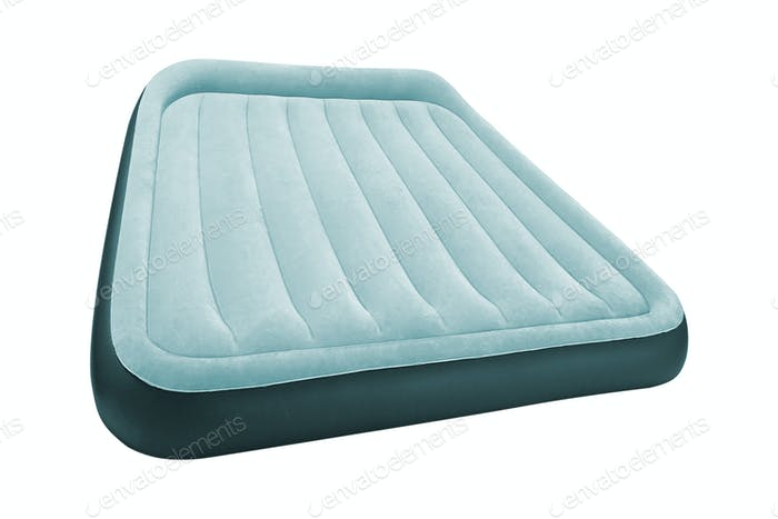 Blue Air mattress isolated on white