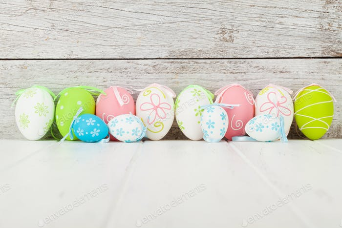 Easter greeting card with colorful easter eggs