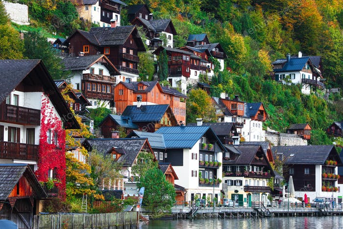 Beautiful street in Hallstatt village in Austrian Alps. Autumn l