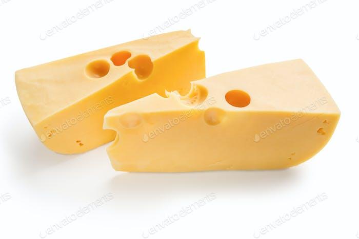 Cheese blocks on white