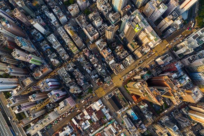 Mong Kok, Hong Kong 22 September 2019: Top down view of Hong Kong city
